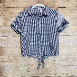 Gingham short sleeve button down